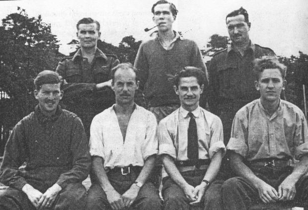 Flt Lt Williams is the man wearing a tie. The photo was taken with camera borrowed from a German guard in the POW camp.