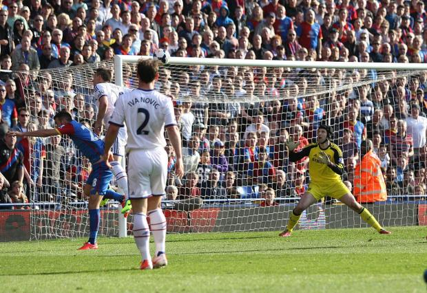 Sutton Guardian: Headed for glory: Chelsea's John Terry glances a header past Petr Cech for the own goal that gave Crystal Palace a