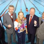 Sutton Guardian: Top Paralympic swimmer Susie Rodgers at Charlton Lido's relaunch, pictured middle with L-R Managing director of GLL Mark Sezans, David Golton of London Marathon Charitable trust,  Cllr Peter Kotz and Cllr Jim Gillman.