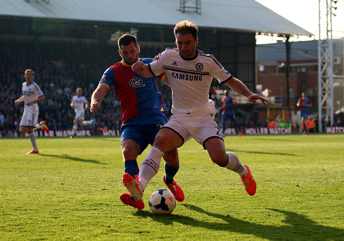 Sutton Guardian: Branislav Ivanovic holds off Joe Ledley