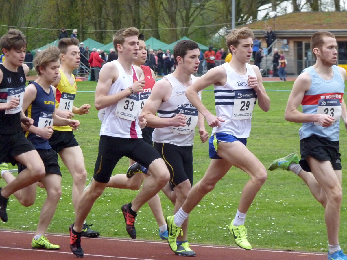 Running man: Patrick Lewis, third from right, finished fifth in the Dave Clarke mile clocking four minutes 36 seconds
