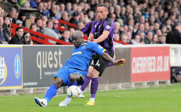 Tough day: Will Antwi is dumped on his back in the 0-0 draw with Bristol Rovers        Picture: David Purday