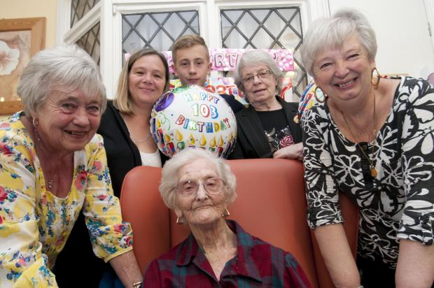 Sutton Guardian: Eva Bowles at her birthday party including Lesley Cole, Audrey Wyatt, Sheila Bernasconi, Tracey Bernasconi, Jack Bernasconi