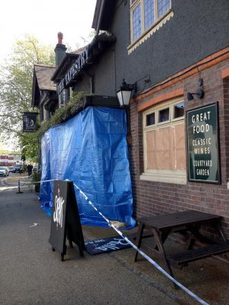 The scene today: The pub closed this morning