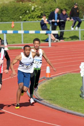 Silver show: Brandon Mitchell hands to Damien Powell in the 4x100m as Croydon Harriers claim the runners up spot               Picture: Karen Fossett