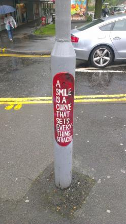 This was spotted on the lamp post today