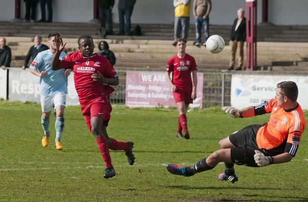 Goal man: Jason Henry in action during the Robins' 2-0 win over Hampton & Richmond Borough on Saturday             SP81901
