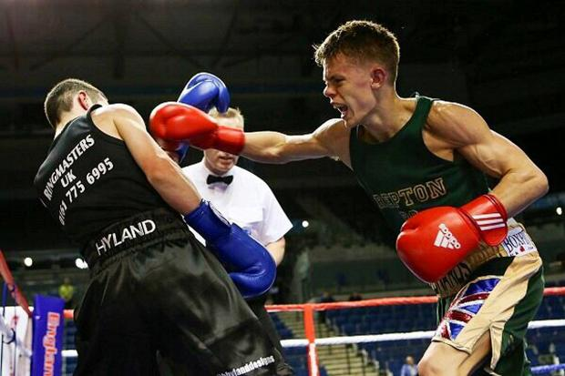 Sutton Guardian: Raw power: Charlie Edwards beat Blane Hyland on a split decision en route to becoming the England National Finals flyweight champion