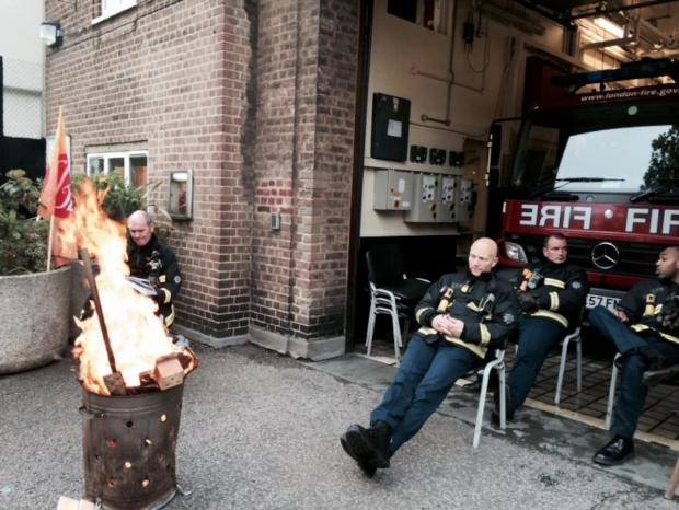 Firefighters outside Battersea Fire Station during the strike on Friday, May 2