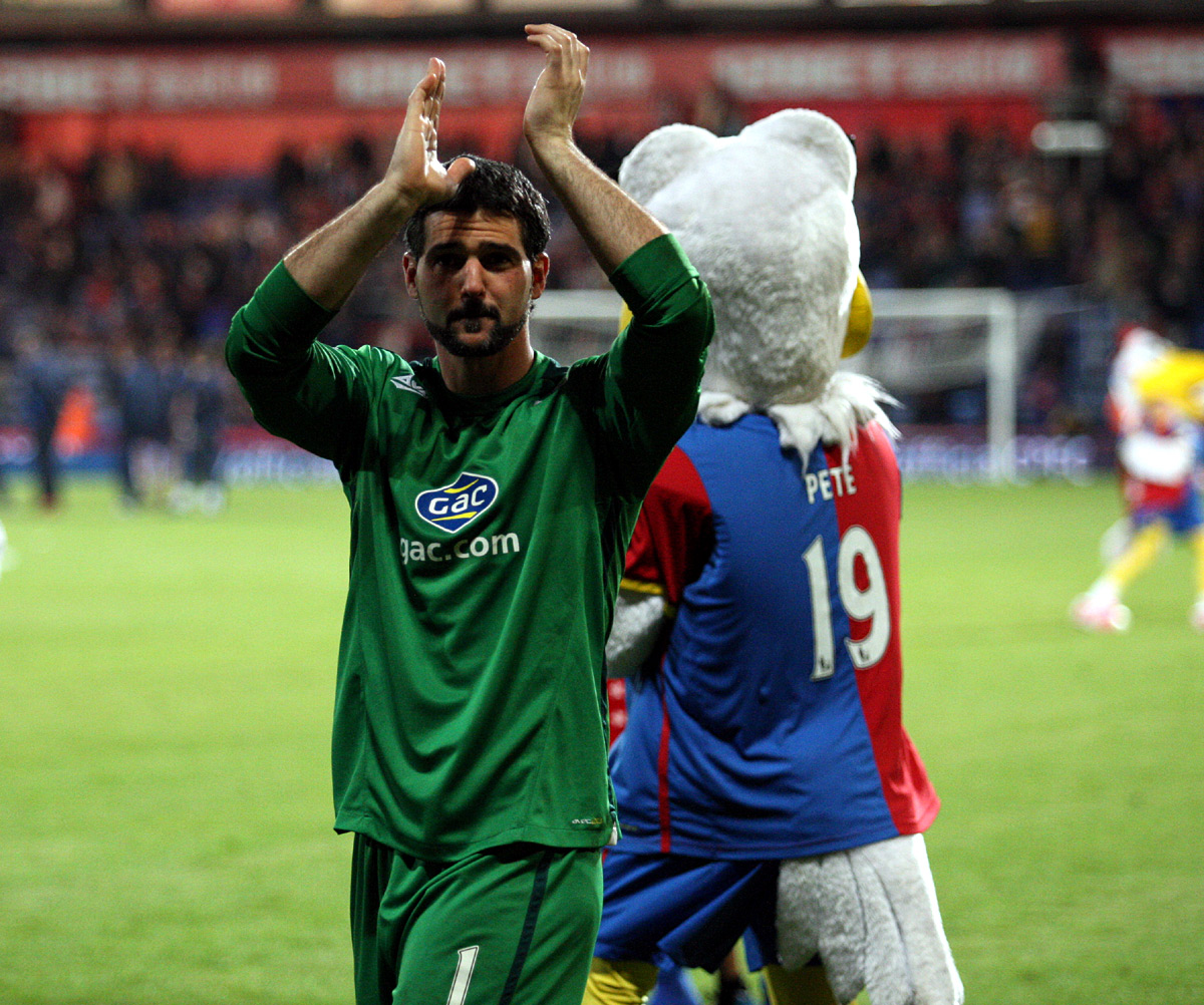 Sutton Guardian: Speroni claps the fans at the end of Monday night's thriller