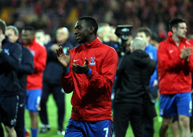 Yannick Bolasie applauds the Palace fans after Monday's 3-3 draw with Liverpool. Picture by Edmund Boyden.