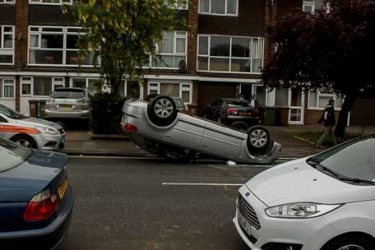 Scene of the crash: Man and woman hospitalised by the incident (pic Hadrien Hadife)