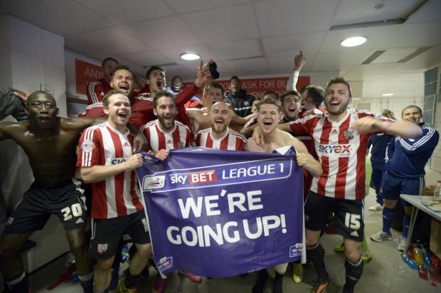Happy, happy day: Brentford are going up Credit: Griffiths Photographers