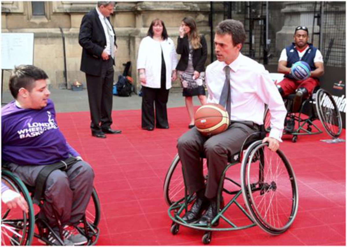 Tom Brake MP tries out wheelchair basketball