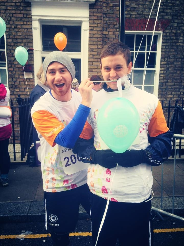 The fundraisers: James (left) and Chris (right), at a charity run for the Royal Marsden Hospital