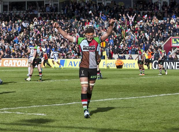 Sutton Guardian: On our way: Quins lock Charlie Matthews celebrates reaching the Premiership semi-finals after Saturday's 19-16 win over Bath