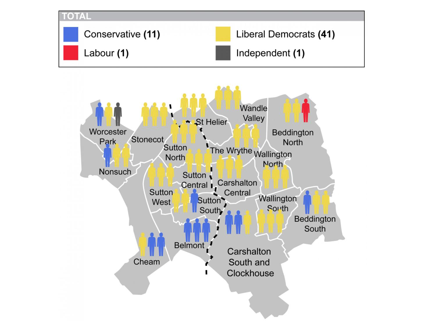 Election 2014: This is the current political map of Sutton going into Thursday's elections