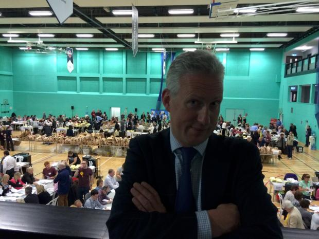 Lembit Opik comes to Sutton Election count and threatens to have Deputy Prime Minister Nick Clegg removed