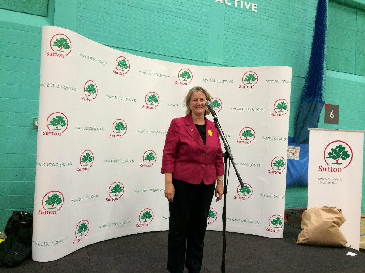 Ruth Dombey takes to the stage after the victory