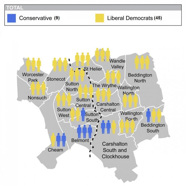 Sutton Guardian: Sutton Council local election results map 2014