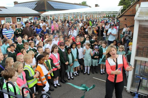 Crowd-pleaser: Ex-BBC weather presenter Helen Young visited the school