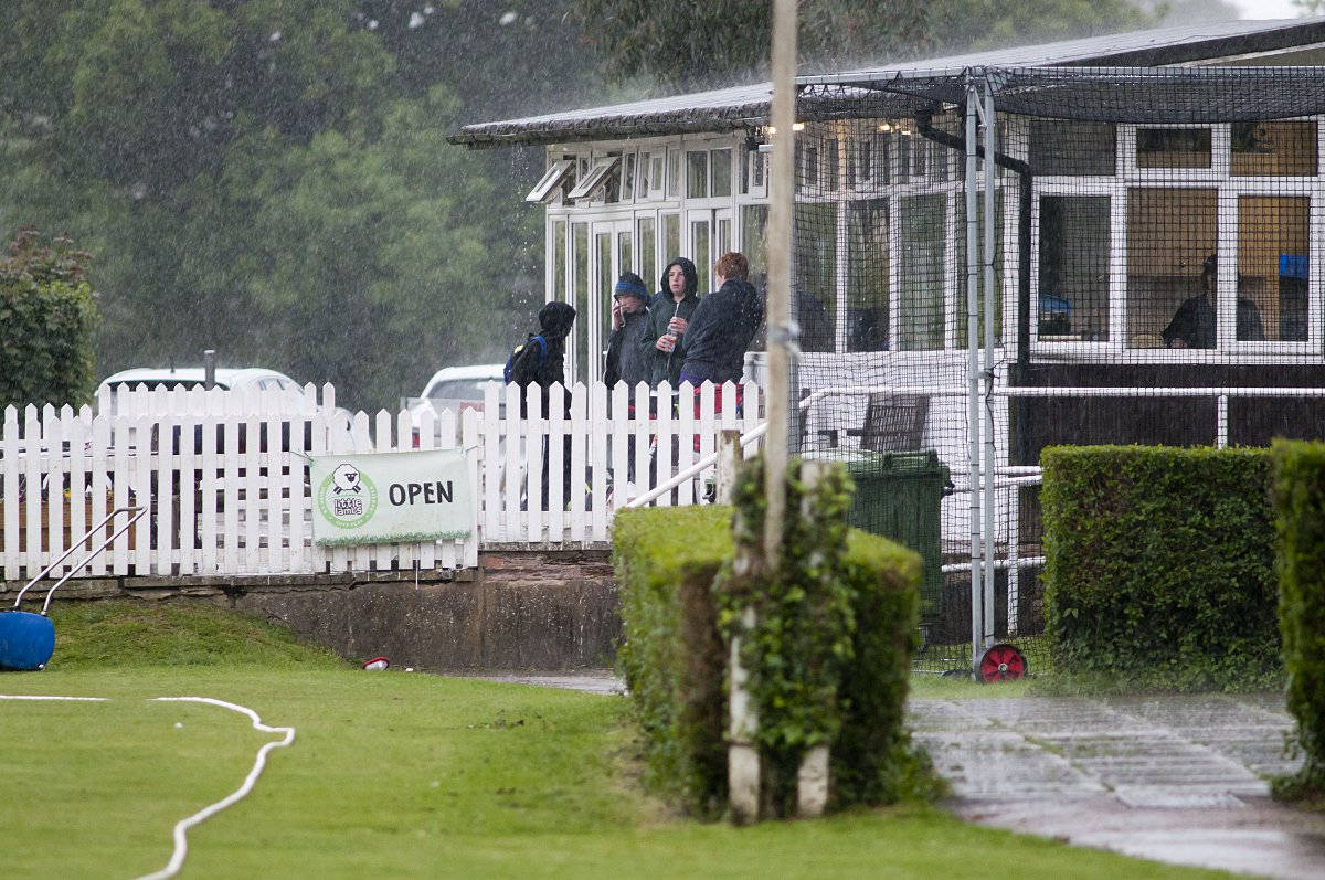 Rained off: Saturday's rain accounted for exactly half the scheduled 30 Surrey Championship games, including Banstead v Spencer in the Premier Division, pictured, and Ashtead's trip to Walton on Thames in Division Two