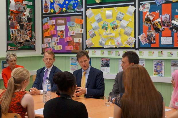 Deputy Prime Minister Nick Clegg fields questions from the girls