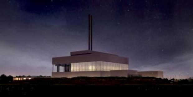 Sutton Guardian: An artists impression of the incinerator by night
