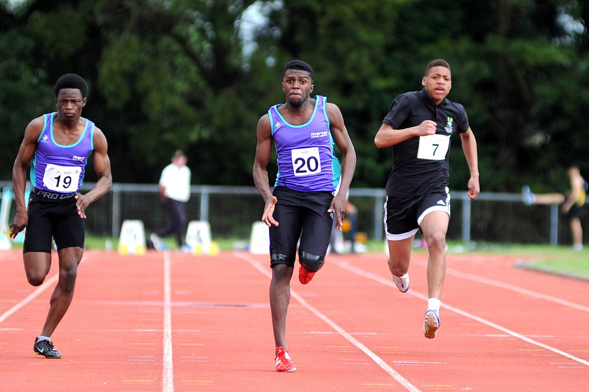 Winner: Hercules Wimbledon's Rechmial Miller en route to winning the intermediate boys' 100m at the Surrey Schools Championship last weekend
