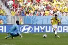 Colombia's Juan Quintero fires past Ivory Coast's goalkeeper Boubacar Barry to score his sides's second goal