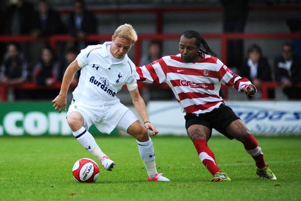 Seen you before: Alex Pritchard in action for Tottenham Hotspur against Kingstonian in 2012