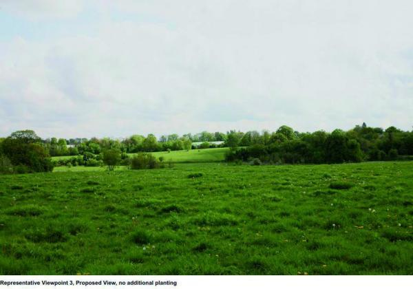 An image showing views of the dome from Warren Farm, without additional planting. Submitted by school as part of the planning applications.