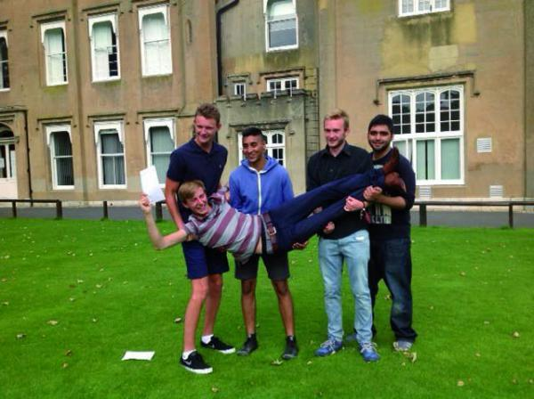 The joy of passing their A-level's gave some of the students a lift