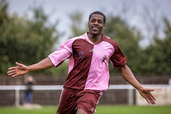 Just look at his face: Corinthian Casuals substitute Michael Salako celebrates his second goal against Walton Casuals