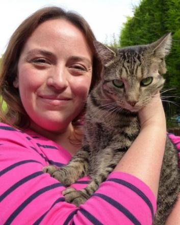 Feline better: Darcy with owner Rebecca Doggett