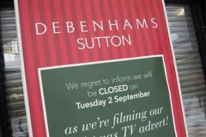 Debenhams in Sutton High Street closed for filming of 2014 Christmas advert