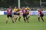 On the run: Richmond's Chris Davies, back in the second row this week, was again on the scoresheet for his men