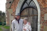 Bill and Eve Stanley outside St Lawrence Church