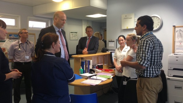 Chris Grayling, pictured at Epsom Hospital in 2013, says there is no money for a new hospital in SW London