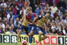 Crystal Palace striker Patrick Bamford in action against Arsenal.