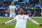 Emre Can celebrates Liverpool's third