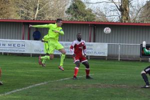 Bobby Price scores for Carshalton Athletic at Hythe Town. Picture Ian Gerrard