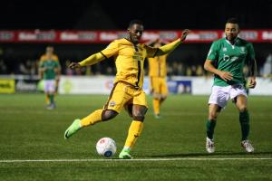 Roarie Deacon fires in Sutton United's injury time equaliser against Lincoln City. Picture: Paul Loughlin