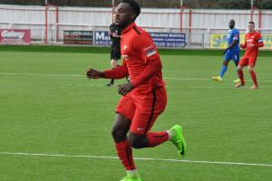 Omari Hibbert scored Carshalton Athletic's second goal at Guernsey on Sunday. Picture: Ian Gerrard.