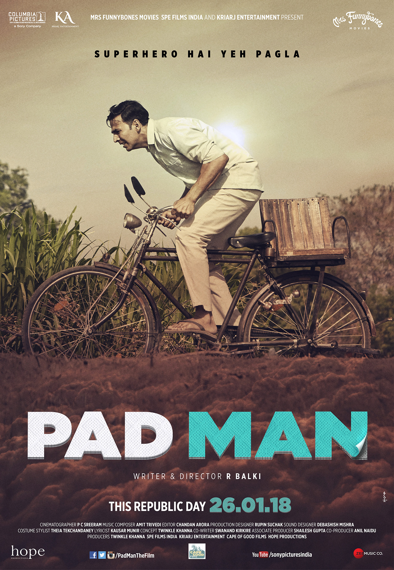 "NOT YOUR AVERAGE SUPERHERO FILM! HERE'S PRESENTING THE MOST PROGRESSIVE FAMILY ENTERTAINER ""PAD MAN"", IN CINEMAS 26TH JANUARY 2018"