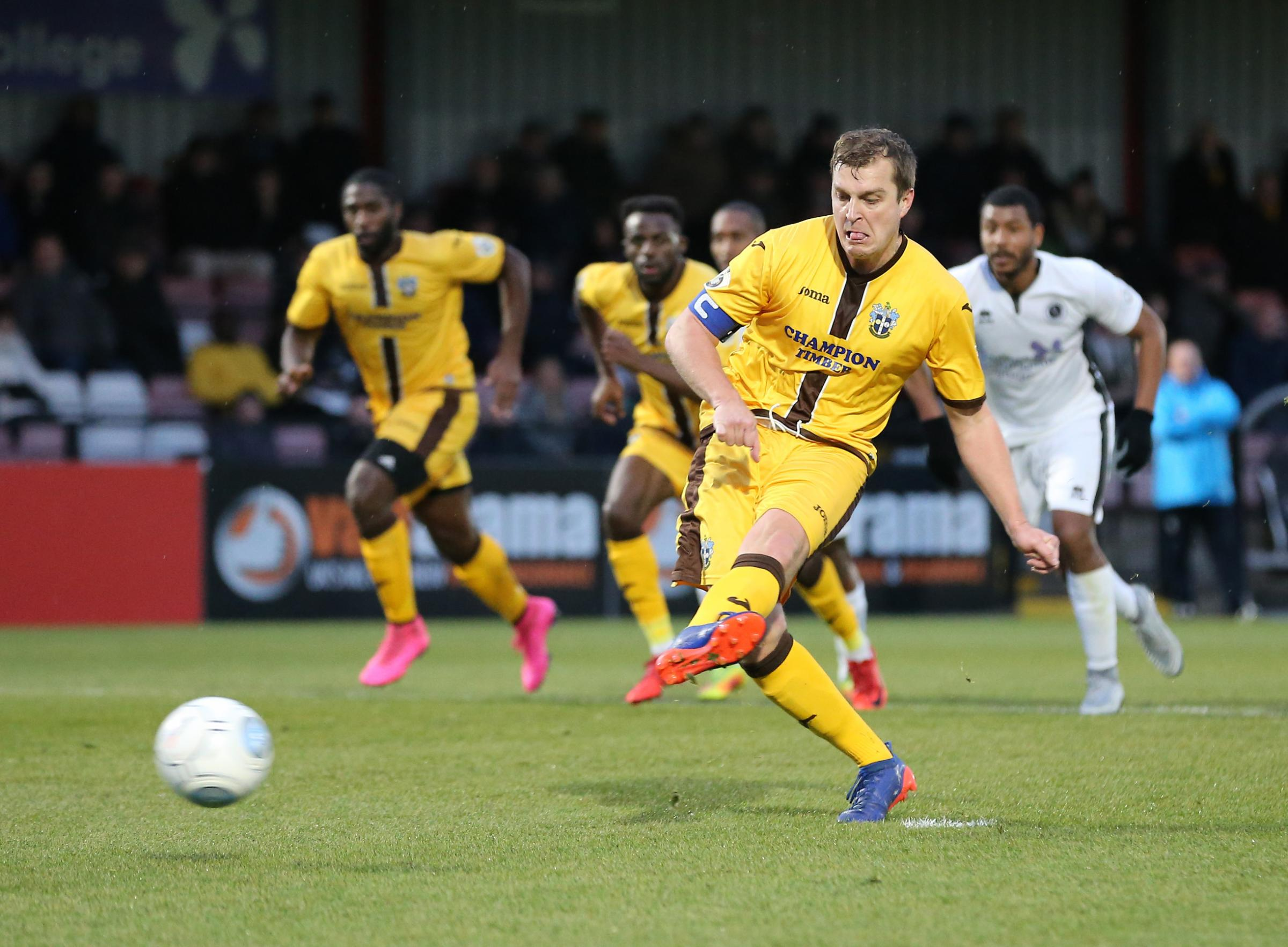 Captain Jamie Collins scored his second penalty of the season as Sutton United beat Eastleigh on Tuesday night. Picture: Paul Loughlin