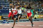 Zharnel Hughes and Jereem Richards clash in the men's 200m final (Martin Rickett/PA)
