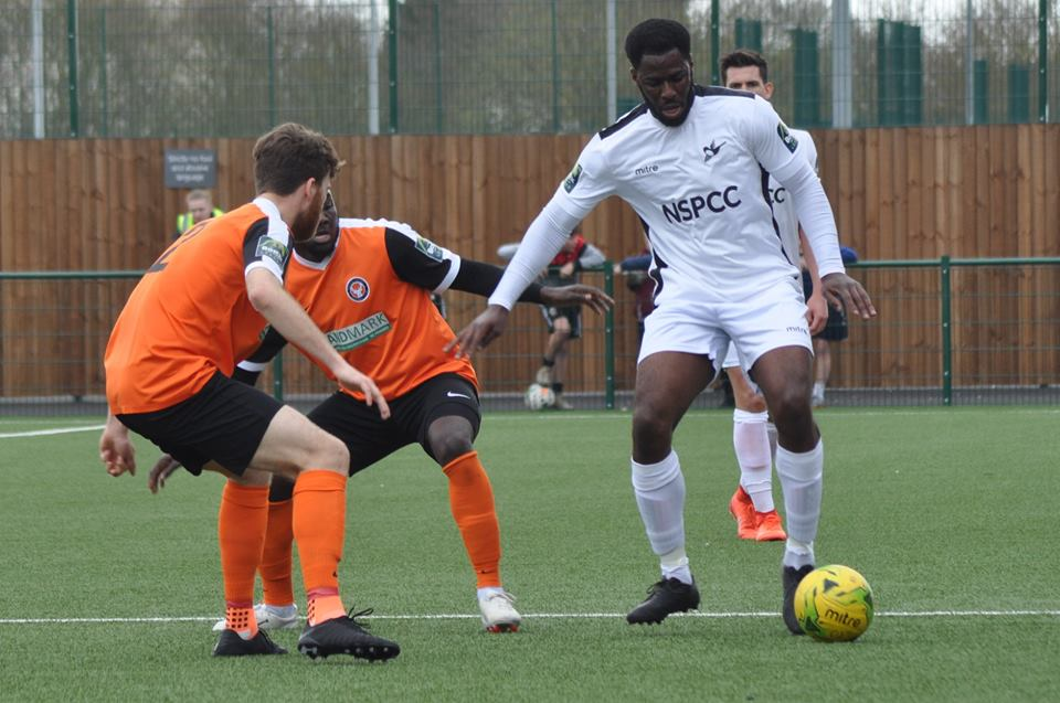 Ola Sogbanmu of Carshalton Athletic in action at Walton Casuals. Picture: Ian Gerrard.