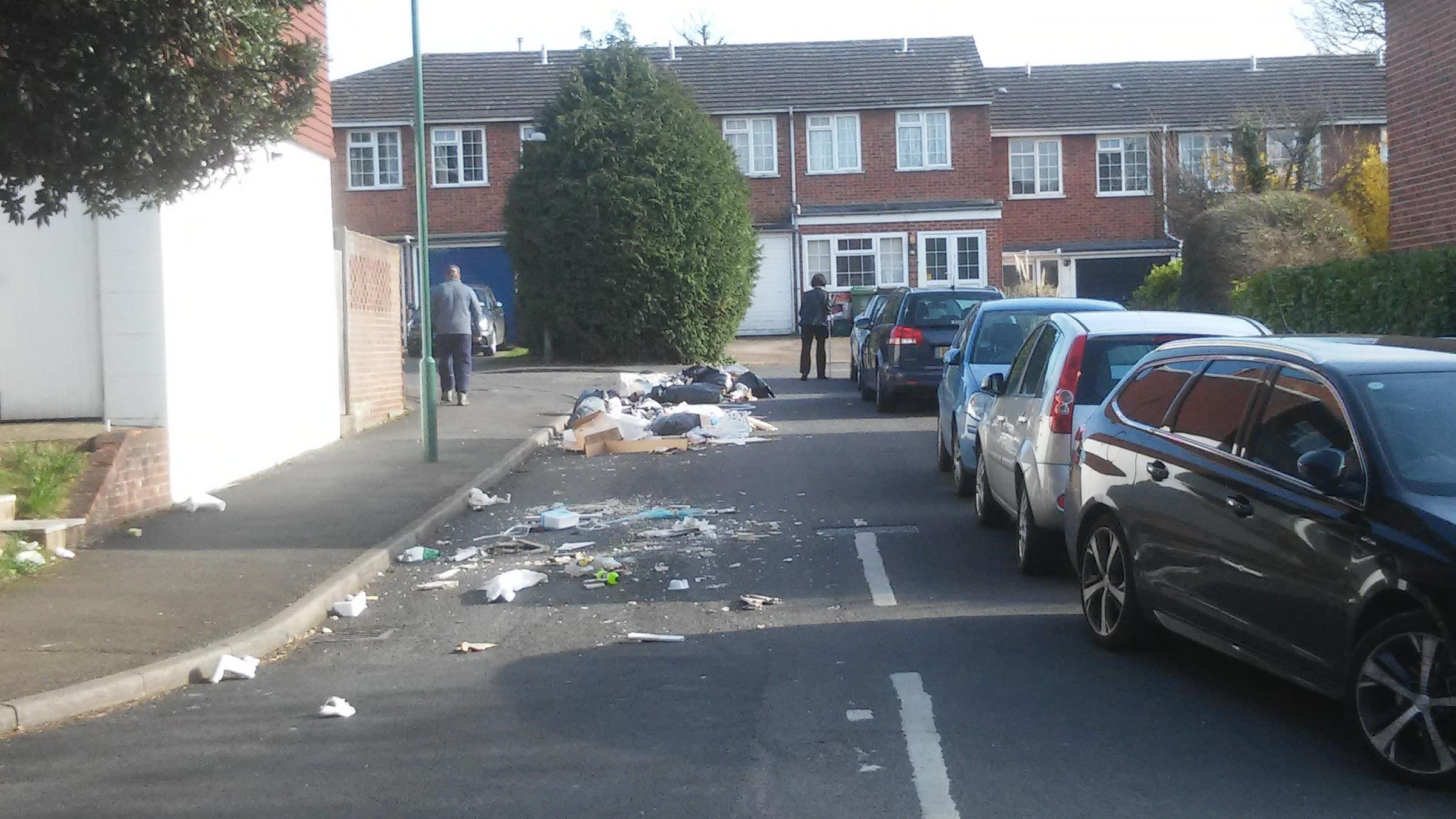 Waste was reportedly dumped in the street by two masked men. Photo: Beresford Campbell