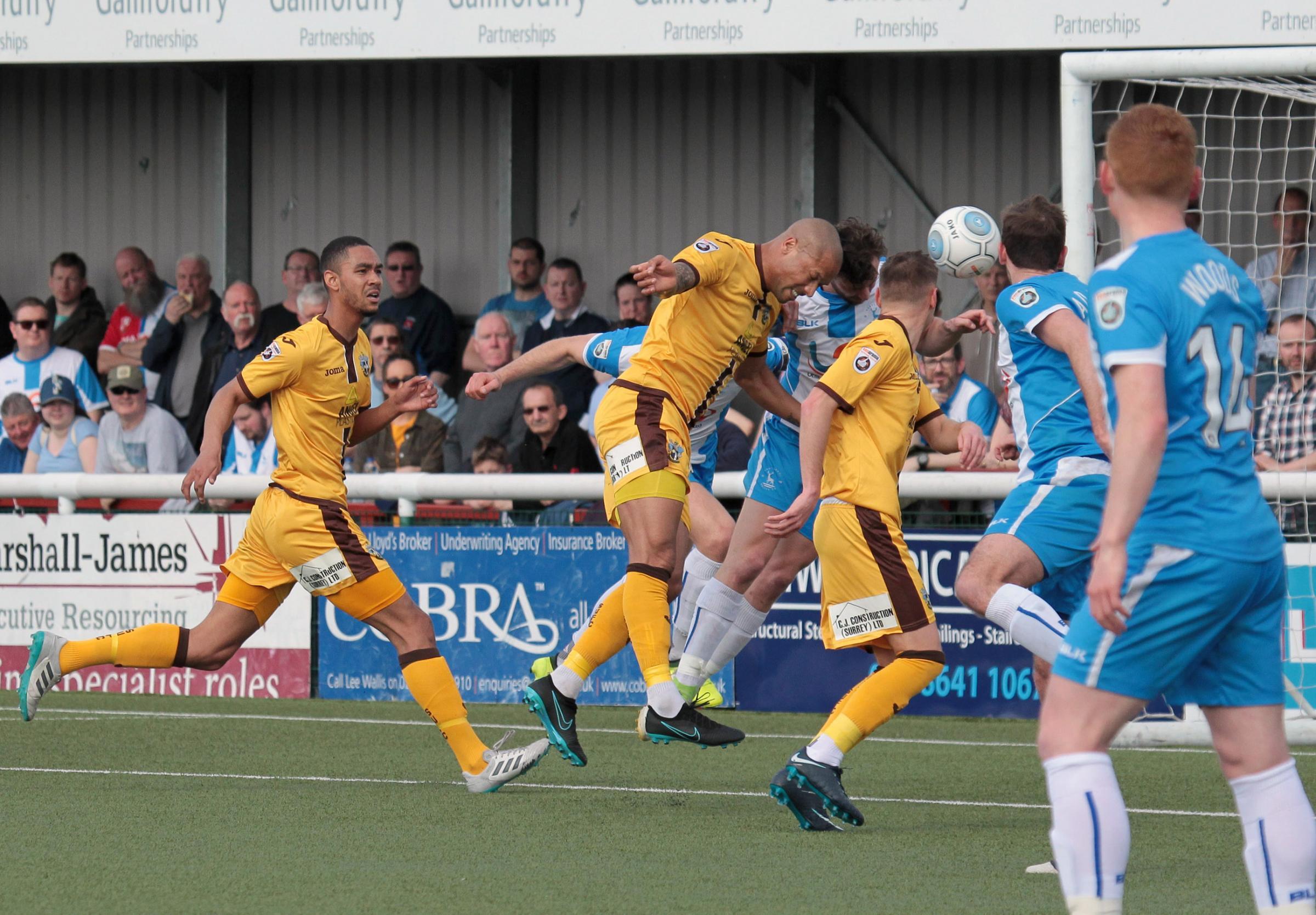 Ross Lafayette heads Sutton United's goal in last Saturday's 1-1 draw with Hartlepool. Picture: Paul Loughlin